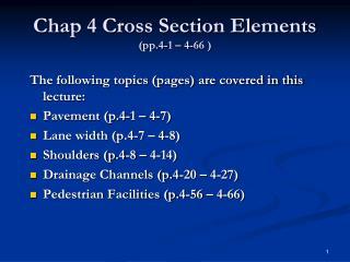 Chap 4 Cross Section Elements (pp.4-1 – 4-66 )