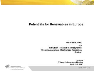 Potentials for Renewables in Europe