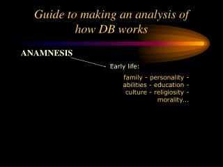 Guide to making an analysis of  how DB works