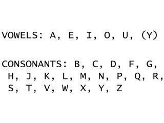 VOWELS: A, E, I, O, U, (Y)
