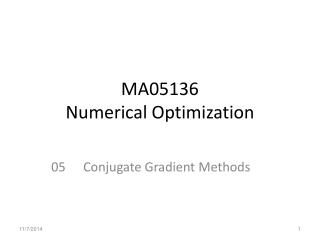 MA05136  Numerical Optimization
