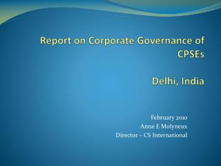 Report on Corporate Governance of CPSEs Delhi, India