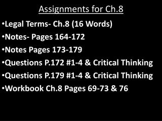 Assignments for Ch.8