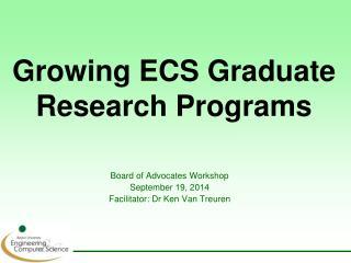 Growing ECS Graduate Research Programs