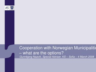 Cooperation with Norwegian Municipalities – what are the options?