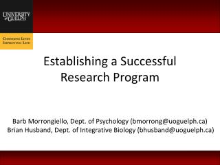 Establishing a Successful Research Program