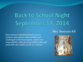 Back  to School Night September  17, 2014