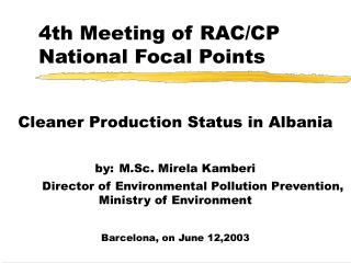 4th Meeting of RAC/CP National Focal Points