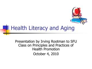 Health Literacy and Aging
