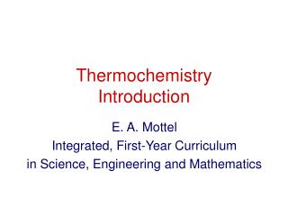 Thermochemistry Introduction