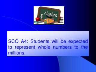 SCO A4: Students will be expected to represent whole numbers to the millions.