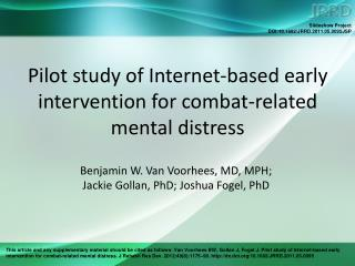 Pilot study of Internet-based early intervention for combat-related mental distress