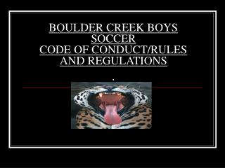 BOULDER CREEK BOYS SOCCER  CODE OF CONDUCT/RULES AND REGULATIONS .