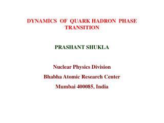 DYNAMICS  OF  QUARK HADRON  PHASE  TRANSITION PRASHANT SHUKLA Nuclear Physics Division