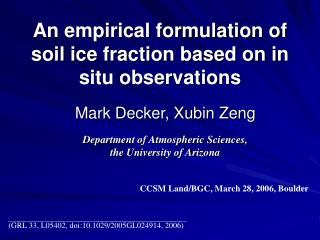 An empirical formulation of soil ice fraction based on in situ observations