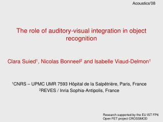 The role of auditory-visual integration in object recognition