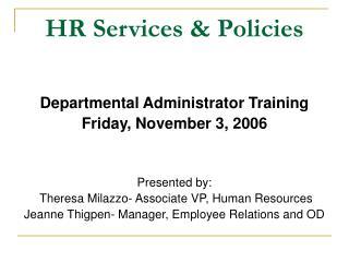 HR Services & Policies