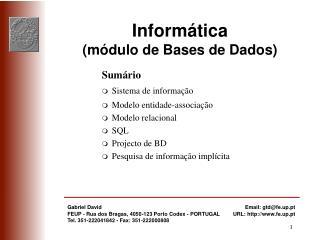 Informática (módulo de Bases de Dados)
