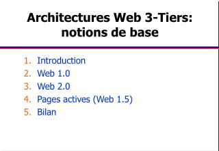 Architectures Web 3-Tiers: notions de base