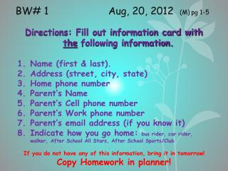BW# 1                Aug, 20, 2012   (M) pg  1-5