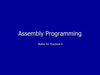 Assembly Programming