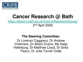 Cancer Research @ Bath https://pharm.bath.ac.uk/CancerResearchGroup/ 2 nd  April 2009