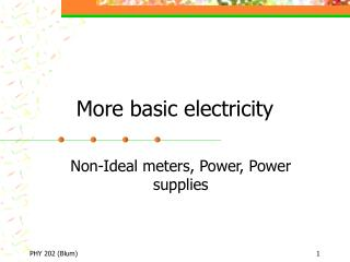 More basic electricity