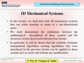 1D Mechanical Systems