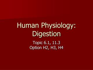 Human Physiology: Digestion
