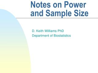Notes on Power and Sample Size