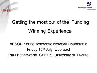 Getting the most out of the 'Funding Winning Experience'
