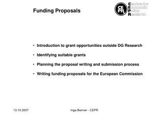 Introduction to grant opportunities outside DG Research Identifying suitable grants