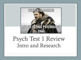 Psych Test  1  Review Intro and Research