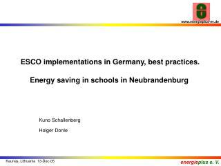 ESCO implementations in Germany, best practices. Energy saving  in schools in Neubrandenburg