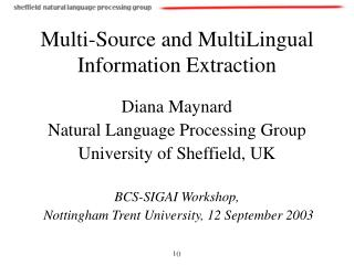 Multi-Source and MultiLingual Information Extraction