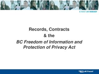 Records, Contracts & the BC Freedom of Information and Protection of Privacy Act