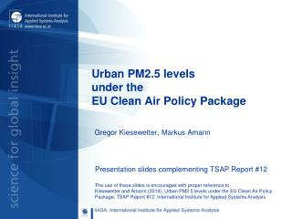 Urban PM2.5 levels under the  EU Clean Air  Policy  Package