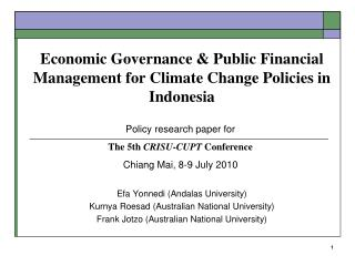 Economic Governance  Public Financial Management for Climate Change Policies in Indonesia