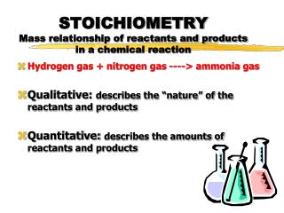 STOICHIOMETRY Mass relationship of reactants and products in a chemical reaction