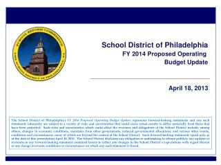 School District of Philadelphia FY 2014 Proposed Operating  Budget Update