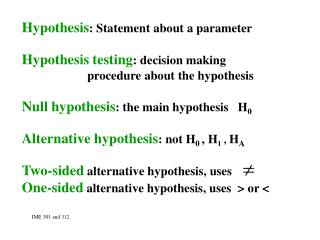 Hypothesis : Statement about a parameter Hypothesis testing : decision making