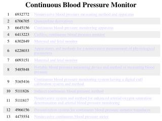 Continuous Blood Pressure Monitor