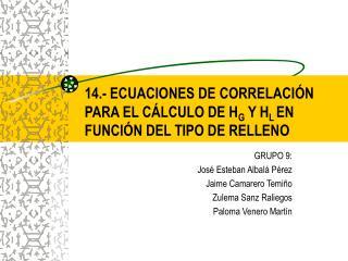 14.- ECUACIONES DE CORRELACIÓN PARA EL CÁLCULO DE H G  Y H L  EN FUNCIÓN DEL TIPO DE RELLENO
