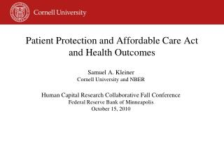 Patient Protection and Affordable Care Act and Health Outcomes