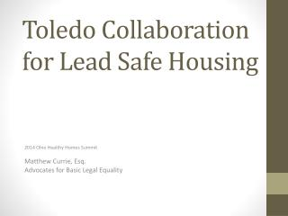 Toledo Collaboration for Lead Safe Housing