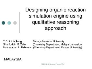 Designing organic reaction simulation engine using qualitative reasoning approach