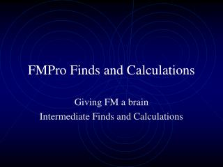 FMPro Finds and Calculations