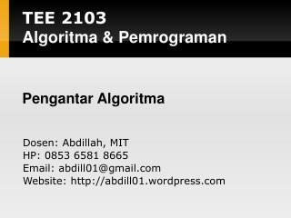 TEE 2 103 Algoritma  & Pemrograman