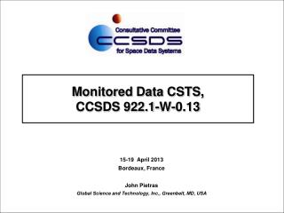 Monitored Data CSTS, CCSDS 922.1-W-0.13