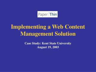 Implementing a Web Content Management Solution